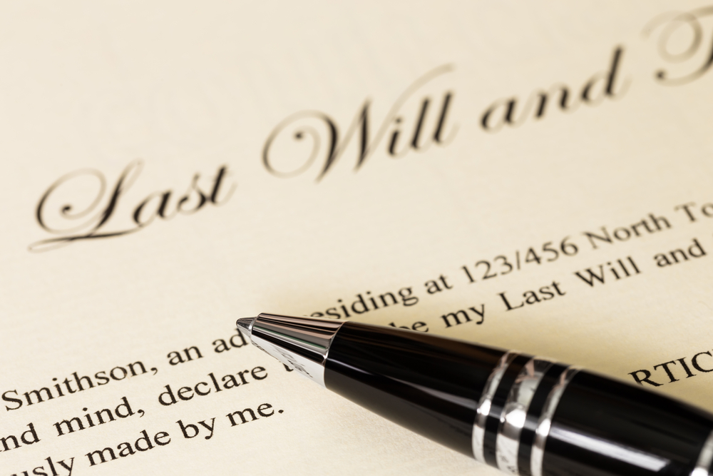 close-up of a will
